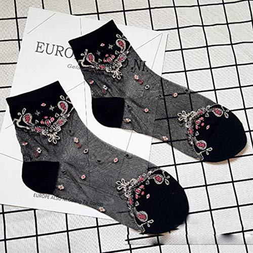 illumafye Elastische Socken Kristallglas Seide Ultradünne Spitze Literarische Verkauf 1 Para Sommer Transparent Barock Kurze Socken (Für Glas-slipper Verkauf)