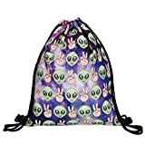 Hellathund Fashion colorato cute happy 3d stampato coulisse zaino (38,1 x 27,9 cm), aliens purple (multicolore)