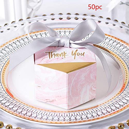 MElnN 50 x sechseckige Süßigkeiten-Box für Hochzeiten, Geschenk-Box mit Bändern, Marmorier-Stil für Geburtstag, Brautparty, Party, Pink + Silver Ribbon, Free Size -