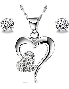 Gilind 925 Sterlingsilber -Stern-Herz-Halskette und Ohrringe Set für Damen + Geschenkbox (Double Heart)