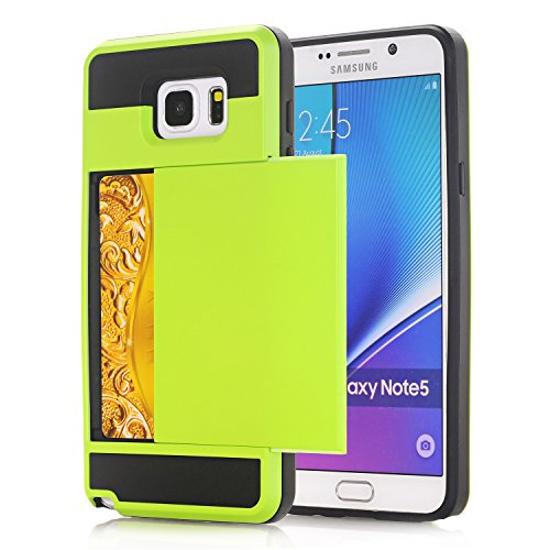 Galaxy Note4 Coque,EVERGREENBUYING [Slider Series] Ultra Slim léger 2 en 1 N9100 Cases [Porte coulissante semi-automatique][Housse de Protection] [Fente pour Carte] Cover Pour Samsung GALAXY Note 4 Ro Vert