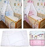 5-20 teiliges Baby Bettse mit Bettwäsche Himmel Nestchen tEULE ROSA BLAU Blau 6 tlg