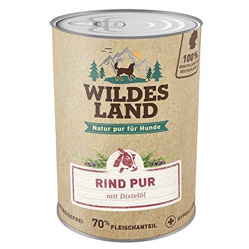Wildes Land | Nassfutter für Hunde | Rind PUR | 6 x 400 g | mit Distelöl | Getreidefrei & Hypoallergen | Extra hoher Fleischanteil von 70% | Beste Akzeptanz und Verträglichkeit | Rohstoffe aus der Lebensmittelproduktion