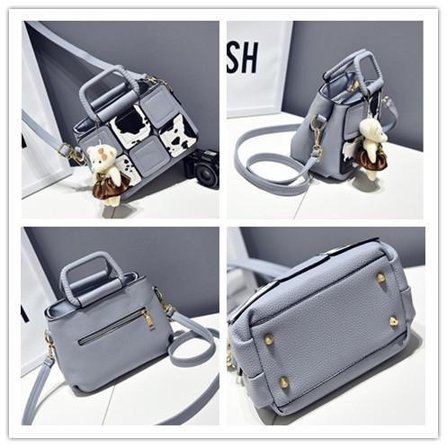 HQYSS Damen-handtaschen PU Leder Cuta Cartoon Milch Frauen Schulter Handtasche Messenger light gray