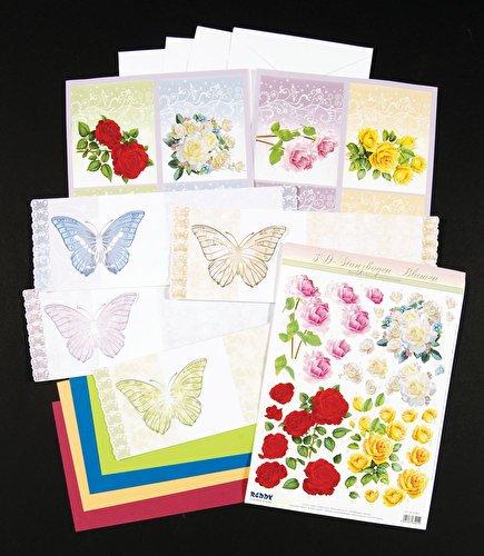 Bastelset Schmetterlingskarten 2, für 4 Karten mit 3D-Blumen