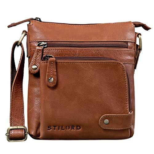 STILORD 'Cameron' Kleine Leder Umhängetasche Vintage Messenger Bag Ledertasche DIN A5 8,4 Zoll Tablettasche Handtasche Cross Body Bag Retro Ledertasche, Farbe:Texas - braun (Crossbody Handtaschen Retro)