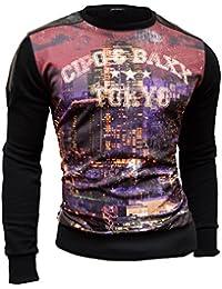 D&R Fashion Hommes long T-shirt par Cipo & Baxx Sweatshirt Urban Graphics Tokyo slim noir à manches