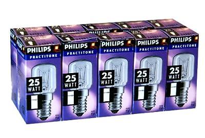 10 x Philips Kühlschranklampe 25W E14 klar Glühbirne Glühlampe 25 Watt Practitone von Philips - Lampenhans.de