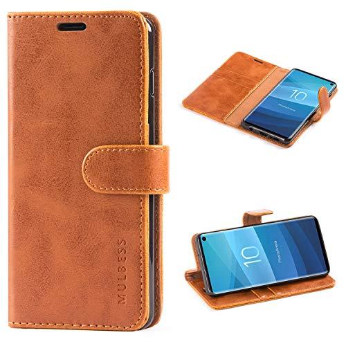 Mulbess (Vintage bookstyle) Premium Handy Schutzhülle Ledertasche im Kartenfach für Samsung Galaxy S10 Tasche Hülle Leder Etui Schale,Braun