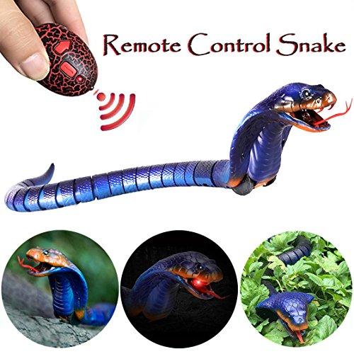 Fernbedienung Schlange Spielzeug, scoolr Infrarot RC Fernbedienung aufladbar lebensecht realistisch Naja Cobra Schlange Spielzeug für Kinder Geschenke Pet Toys, 43,2cm