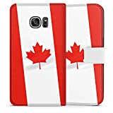 Samsung Galaxy S7 Tasche Leder Flip Case Hülle Kanada Flagge Flag