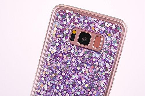 Etsue Silicone Coque pour Galaxy S8,Galaxy S8 Etui en Silicone TPU Case Soft Cover,Luxe Bling Doux Protecteur Coque pour Fille,Placage Remplissage Housse étui pour Galaxy S8,ultra-mince Briller Sparkl Violet