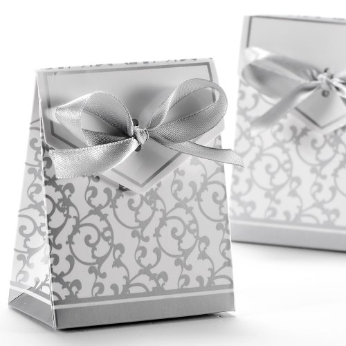 CLE DE TOUS 50 pcs Caja para Regalos Caramelos / Bombones Galon Plateado Decoracion para Boda