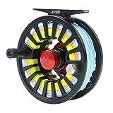 Maxcatch Avid Fliegenfischen Fliegenrolle mit WF Fliegenschnur, Backing, Tapered Leader bespult: Silber/Schwarz, 5/6wt