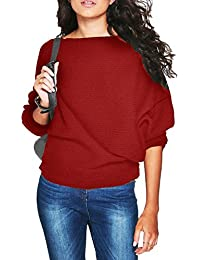 a4d65d23ae81d Fräulein Fox Autumn Women s Casual O-Neck Batwing Sleeve Loose Knitted  Jumper Sweater Ribbed Tops