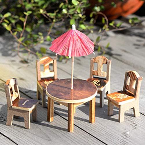 enschirm Stühle Set Mini Holzmöbel Set Tisch Stühle, Märchen Holz Schreibtisch Stuhl Schirm Puppenhaus Garten Landschaft (1 Set - Wie Bild Show, 1 Set ()