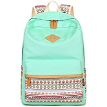 Q.KIM Backpack Mochilas Escolares Mujer Mochila Escolar Lona Bolsa Estilo Étnico Vendimia Casual Colegio Bolso Para Chicas / Rucksack + Bolso del mensajero + Monedero