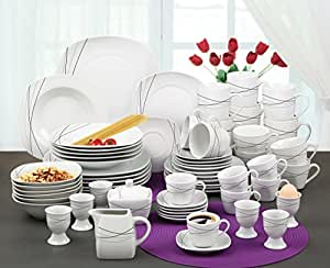 Service De Table 62 Pcs Shades Of Grey Deluxe Porcelaine Blanc Avec Motif Tinas Collection