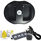 DOT-01 Brand 1300 MAh Replacement Sony NP-FH50 Battery And Dual Slot USB Charger For Sony A390 Digital SLR Camera And Sony FH50 Accessory Bundle