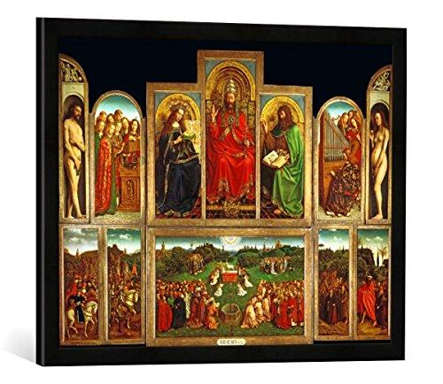 Gerahmtes Bild von AKG Anonymous Jan Van Eyck/Genter Altar/vollendet1432, Kunstdruck im hochwertigen handgefertigten Bilder-Rahmen, 70x50 cm, Schwarz matt -