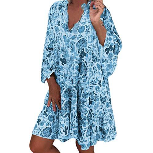 LOPILY Frauen Große Größen Blumenmuster Kleider Boho Stil Übergröße Sommerkleider Blumendruck Knielang Kleid Kurzarm Kleid Tunika Swing Kleid (Blau, 48) (Bonnie Jean Kleidung)