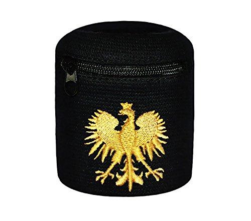 Multifunktions-Schweißband mit praktischer Tasche Reißverschluss Strand Armband - Eule - Adler (schwarz-Gold (Eagle))