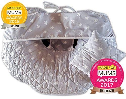 Único 4en 1Premium algodón enfermería almohada con Free Mini almohada y bebé arnés plateado...