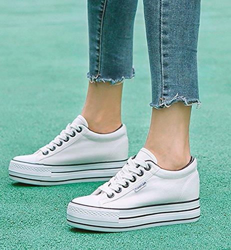 Aisun Femme Classique Talon Moyen à Lacets Respirant Sneakers Blanc