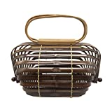 ACMEDE Damen Handtasche Bambus Handgefertigte Strandtasche mit Griffen 18 x 30cm