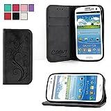 COOVY® Cover für Samsung Galaxy S3 GT-i9300 GT-i9305 Neo GT-i9301 Case Wallet Schutz Etui mit Kartenfach, Standfunktion + Schutzfolie - Design Blume | Farbe schwarz