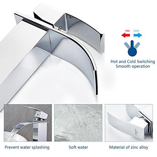 Auralum® Design Einhebel Wasserhahn Armatur Waschtischarmatur Wasserfall Einhandmischer für Badezimmer Waschbecken - 6