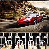Tapisserie Photo 3D photo papier peint murale 3D fresque rouge voiture de sport cool KTV salon outillage fond mur chambre papier peint