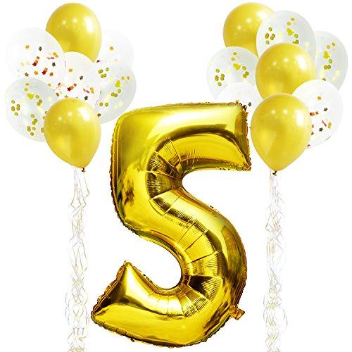 KUNGYO Decoraciones de Fiesta de Cumpleaños para Adultos y Niños, Oro Gigante Número 5 y Estrella de Helio Globos, Cintas, Globos de Confeti de Látex- D'oro Suministros de Fiesta
