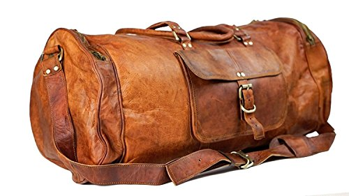 Mk Bags Leather 24 Inch Duffel Travel Gym Sports Overnight Weekend Leather  Bag d11 761f23bca7033