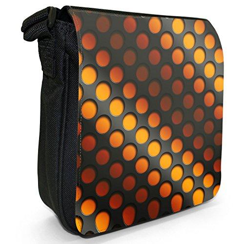 Abstract 3D-Wave-Piccola borsa a tracolla in tela, colore: nero, taglia: S Orange Abstract 3D Wave