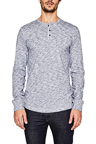ESPRIT Herren 997EE2K824 Langarmshirt, Grau (Medium Grey 035), Large Henley Long Sleeve Henley