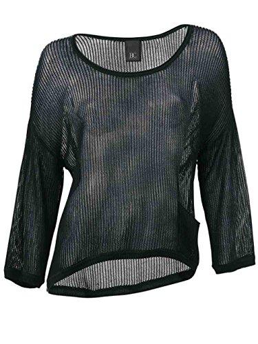 Heine - Best Connections Damen-Pullover Lochmuster-Pullover Schwarz Größe 42