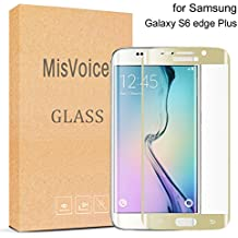 Galaxy S6 Edge Plus Protector de Pantalla,MisVoice 0.22MM Cristal Templado Protector 9H Dureza Shatterproof resistente a los arañazos Shock-resistant fácil instalación para Samsung Galaxy S6 Edge +(Gold-Oro)