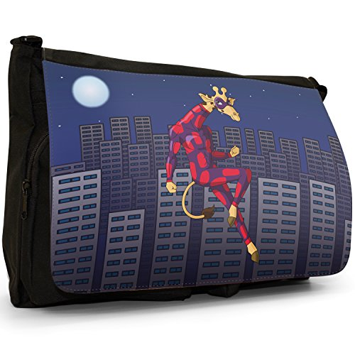 Superhero Action Hero animali grande borsa a tracolla Messenger Tela Nera, scuola/Borsa Per Laptop Giraffe In Stealth Hero Suit