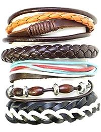 Hermoso conjunto de pulseras brazalete / perlas de estilo surfista de olas de madera plástica