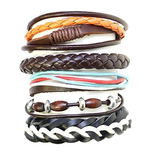ensemble-de-5-perles-en-bois-cordon-et-cuir-surf-surfer-bracelets-style-bracelets-265