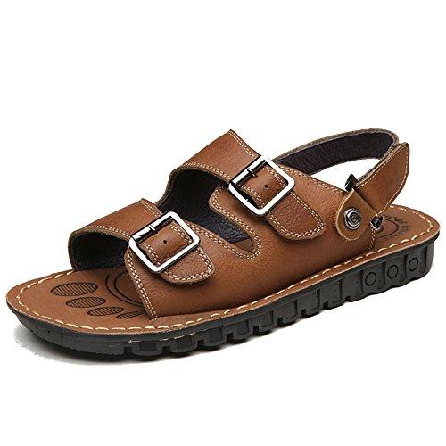 MERRYHE Einstellbare Große Größe Echtes Leder Strand Sandalen Für Männer Offene Spitze Pool Schuhe Wandern Sportschuhe,Brown-50
