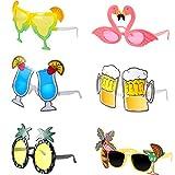 meekoo 6 Pezzi Occhiali da Sole Tropicale Hawaiano Occhiali Divertenti Costume Occhiali da Sole Estate Bomboniere