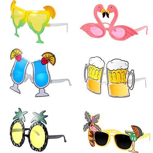 meekoo 6 Stücke Hawaiian Tropisch Sonnenbrillen Lustige Brillen Kostüm Sonnenbrillen Sommer Party Gefälligkeiten (Große Lustige Sonnenbrille)