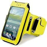 Tuff-Luv Uni-SE x taille unique Brassard de sport/ Sportsband étui amovible réglable pour Smartphones (iPhone 5s / SE Y compris / 5c / 6 Samsung Galaxy S3 S4 S5 / HTC One M7 M8 / Nexus 4 5 / Nokia Lumia) - Jaune