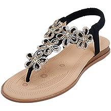 Zkyo Damen Sommer Sandalen mit Strass Zehentrenner Schuhe Frauen Flach Bohemian Sandaletten FeZgzlvue