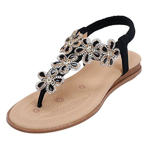 SANMIO Damen Sommer Flach Sandalen, Frauen Bohemian Strass Flach Sandaletten Sommerschuhe PU Leder Elastischen Strand Schuhe Zehentrenner in Größe 36-41