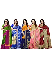Ishin Combo of 5 Poly Silk Multicolor Woven Women's Saree with Blouse Piece