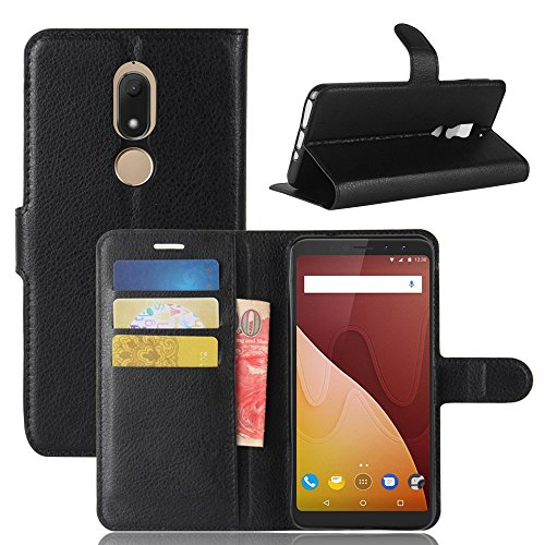 Tasche für Wiko View Prime Hülle, Ycloud PU Kunstleder Ledertasche Flip Cover Wallet Case Handyhülle mit Stand Function Credit Card Slots Bookstyle Purse Design schwarz - Prima Credit Card Case