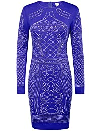 a942eb108ea03c GRACE KARIN Women Business Evening Dress Long Sleeve Pencil with  Rhinestones Embellishment GF1007